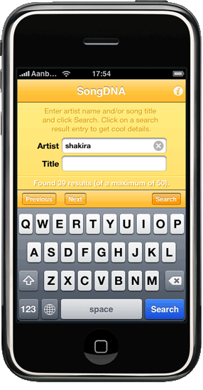 SongDNA startup page screenshot iPhone