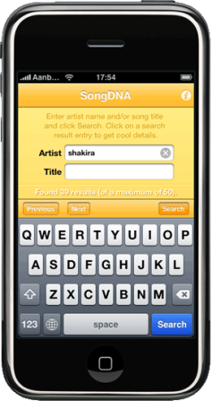 SongDNA homepage screenshot iPhone