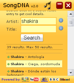 SongDNA search results screenshot Widget