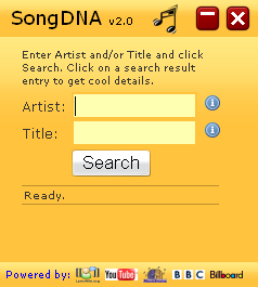 SongDNA startup page screenshot Widget